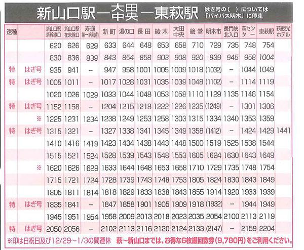 新山口駅−東萩駅間時刻表2016年10月1日