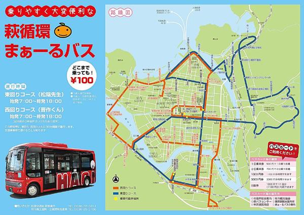 萩循環まぁーるバス路線図