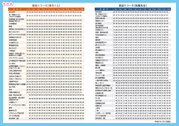 萩循環まぁーるバス時刻表